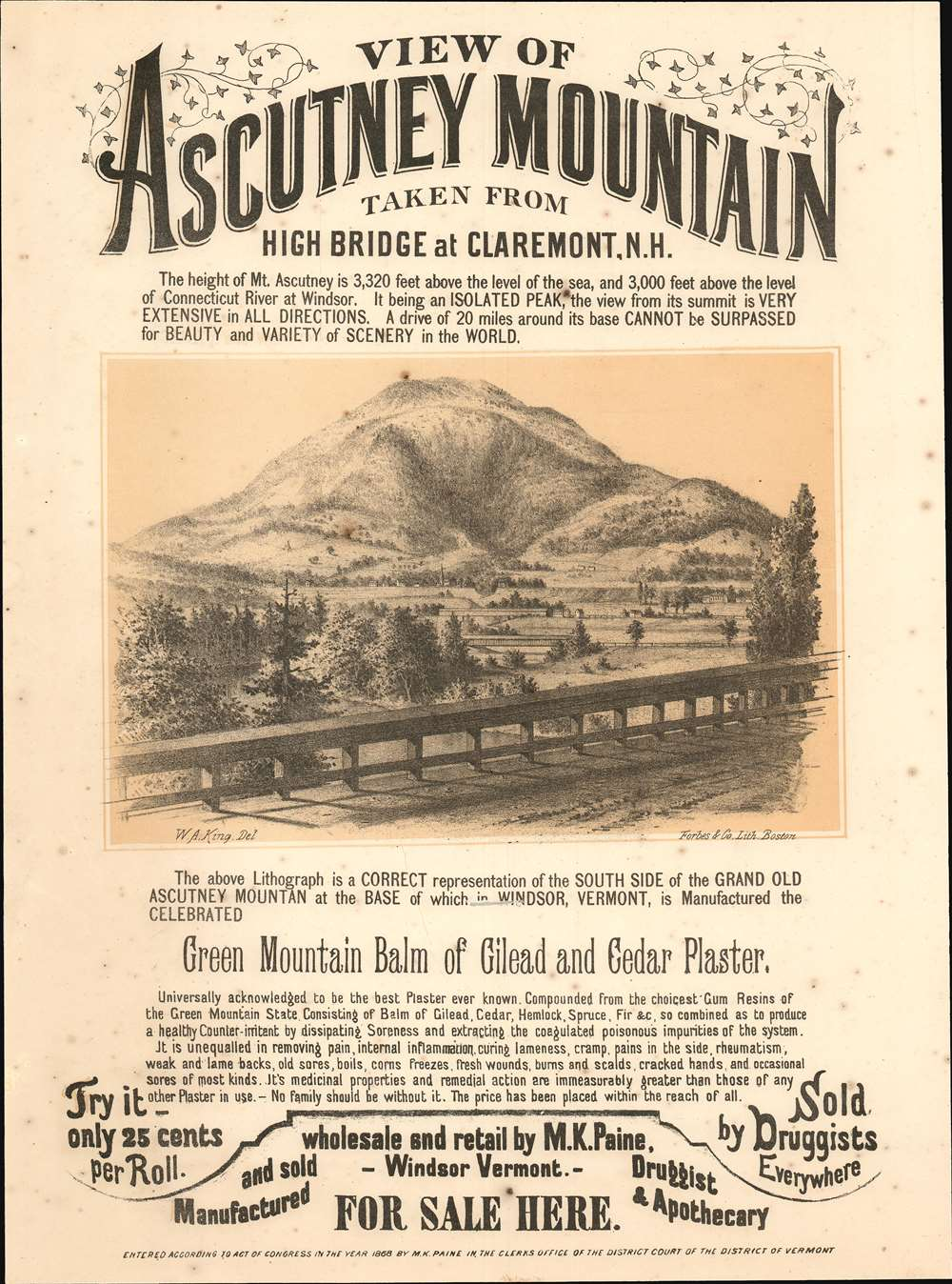 1868 Paine Broadside View of Ascutney Mountain, Vermont