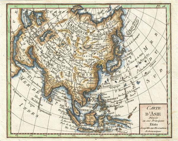 Carte d'Asie Divisee en ses Princpaux Etats Assujettie Observations Astronomiques.