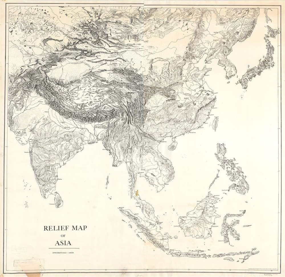 1943 Office of Strategic Services Map Information Section Skeleton Map of Asia
