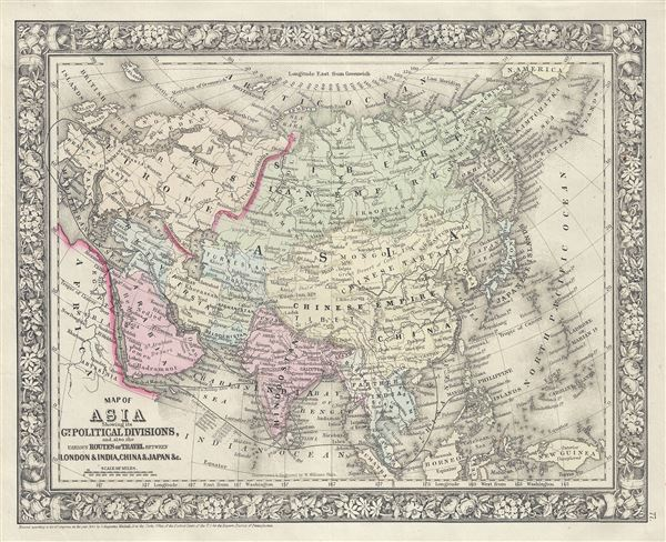 Map of Asia Showing its Gt. Political Divisions, and, also, the various Routes of Travel, between London and India, China and Japan etc.