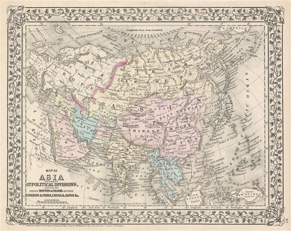 Map of Asia Showing its Gt. Political Divisions, and also the various Routes of Travel between London & India, China & Japan &c. - Main View