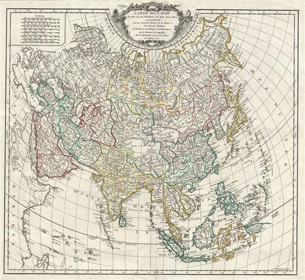 Carte de l'Asie dressee sur les Relations les plus nouvelles, principalement fur les Cartes de Russie, de la Chine, et de la Tatarie Chinoise; et divisee en ses Empires et Royaumes. - Main View