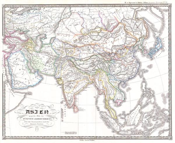 Asien gegen die Mitte des Funften Jahrhunderts.  Zeit der Sassaniden und des Hunnen-Reiches.