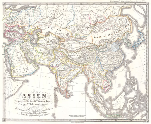 1855 Spruner Map of Asia in the 9th and 10th Centuries
