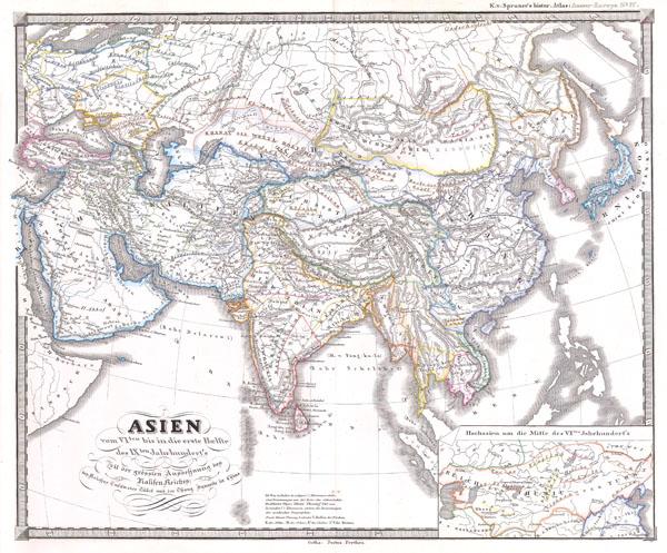 Asien vom VIten bis in die erste Haelfte des IXten Jahrhundert's Zeit der grossfen Ausdehnung des Ralifen Reiches; des Reiches Tufan oder Tubet und der Chang Dynastie in China