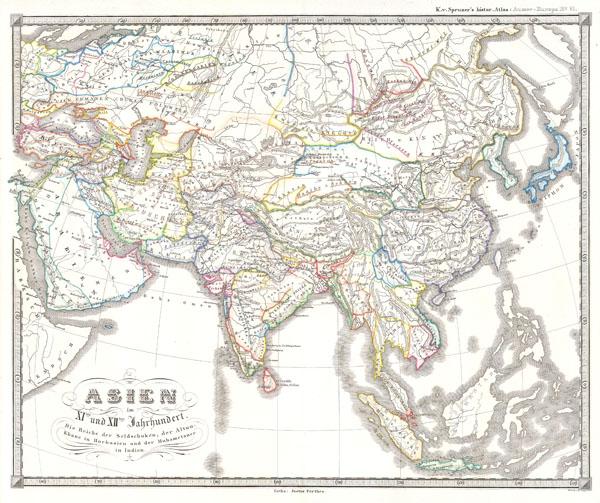 Asien im XIten und XIIten Jahrhundert.  Die Reiche der Seldschuken; der Altun Khane in Hochasien und der Muhametaner in Indien..