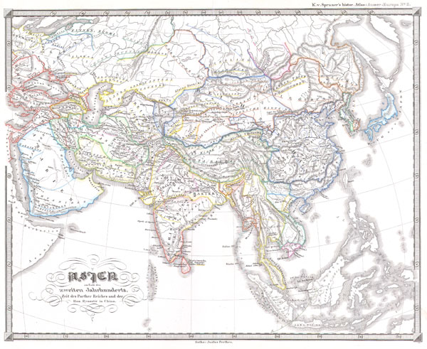 Asien am Ende des zweiten jahrhunderts. Zeit des Parther Reiches und der Han Dynastie in China.