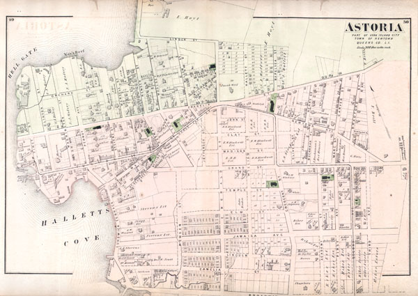 Map Of New York Showing Queens.Astoria Part Of Long Island City Town Of Newtown Queens Co L I