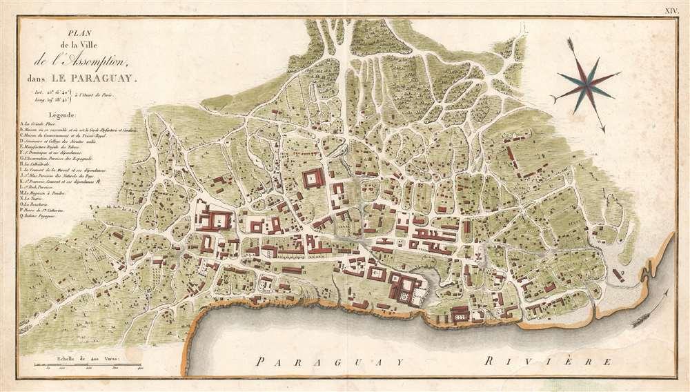 1809 Azara Map of Asunción in Paraguay: earliest printed plan of Paraguay's capital