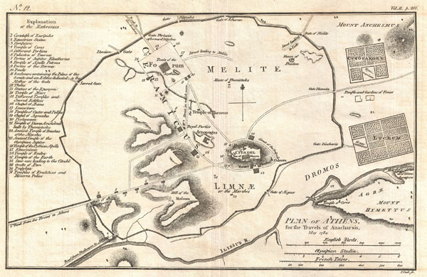 Plan of Athens, for the Travels of Anacharsis, May 1784.