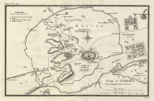 Plan d'Athenes Pour le Voyage du Jeune Anacharsis.