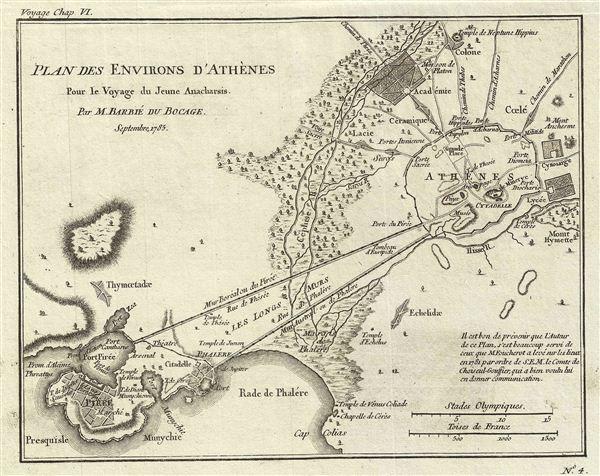 Plan des Environs d'Athenes Pour le Voyage du Jeune Anacharsis.