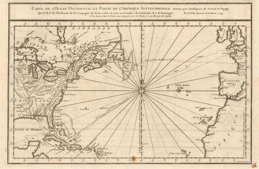 Carte De L'Ocean Occidental et Partie De L'Amerique Septentrionale Dressee pour l'intelligence du Journal du V oyage. - Main View