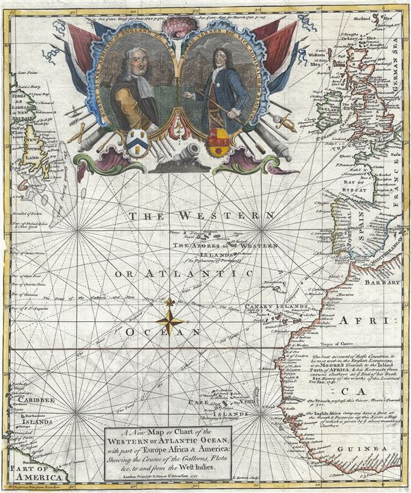 A New Map or Chart of the Western or Atlantic Ocean, with part of Europe Africa and America: Shewing the Course of the Galleons, Flota, and c. to and from the West Indies. - Main View