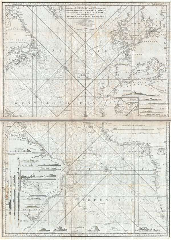 A New and Correct Chart From the 63.° of Lat: N. to the Cape of Good Hope, and from the 71.° Long: W. to the 38° E. of London.  Exhibiting the Whole of the Atlantic or Western Ocean, and the Greatest Part of the Ethiopic or Southern Ocean; wherein the Respective Coasts of Europe, Africa, and of America North and South, with all the Islands and Dangers in the Two Seas are carefully described.