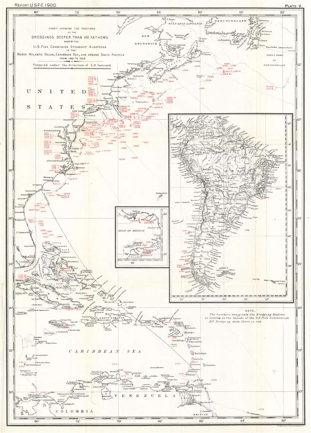 Chart Showing the Positions of the Dredgings Deeper than 100 Fathoms Made by the U.S. Fish Commission Steamship Albatross in the North Atlantic Ocean, Caribbean Sea, and around South America from 1883 to 1888. - Main View