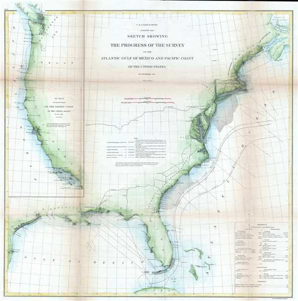 Sketch Showing the Progress of the Survey on the Atlantic Gulf of Mexico and Pacific Coast of the United States.