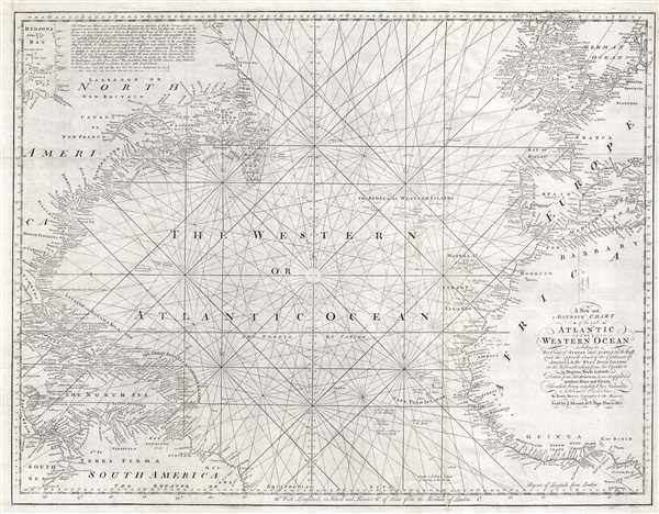 A New and Accurate Chart of the vast Atlantic or Western Ocean, including the Sea Coast of Europe and Africa on the East, and the opposite Coast of the Continent of America, and the West India Islands on the West; extending form the Equator to 59 Degrees North Latitude. - Main View