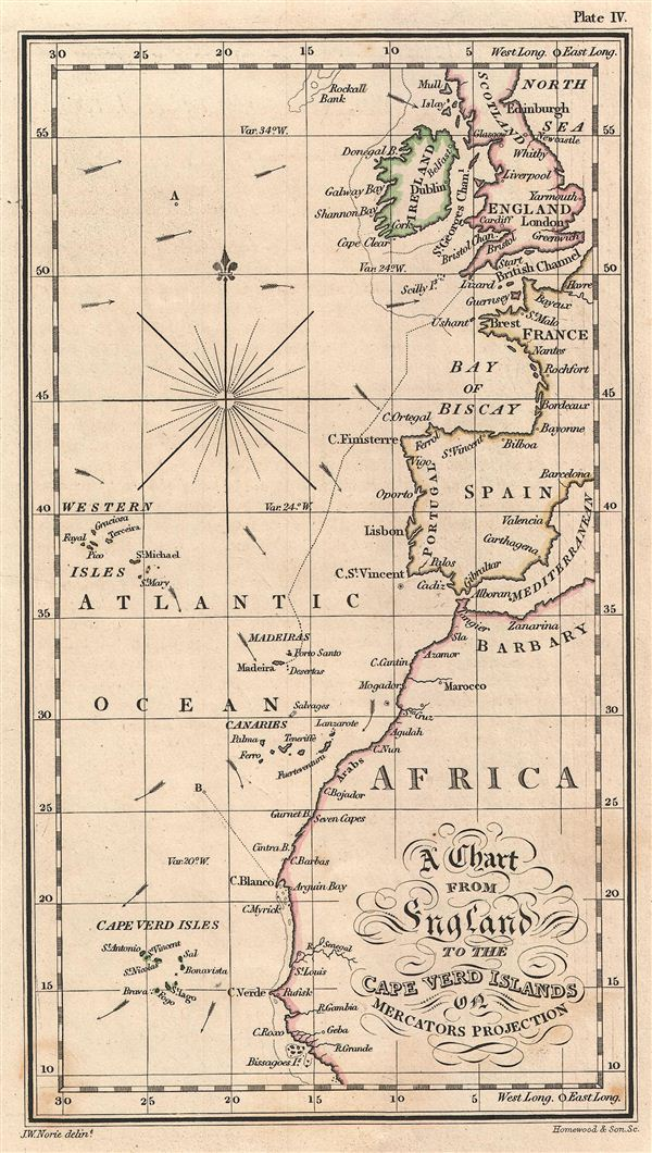 A Chart from England to the Cape Verd Islands on Mercators Projection.
