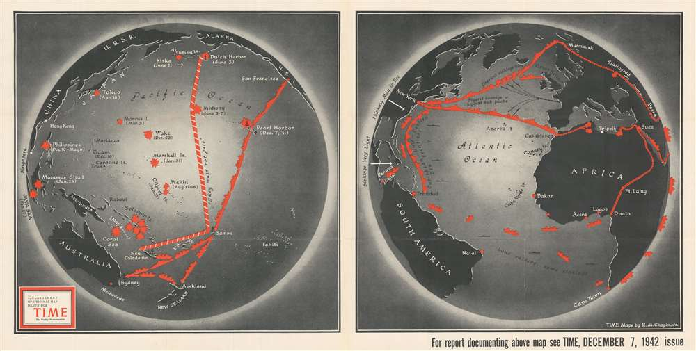 1942 Chapin Map of the Atlantic and Pacific Oceans During World War II