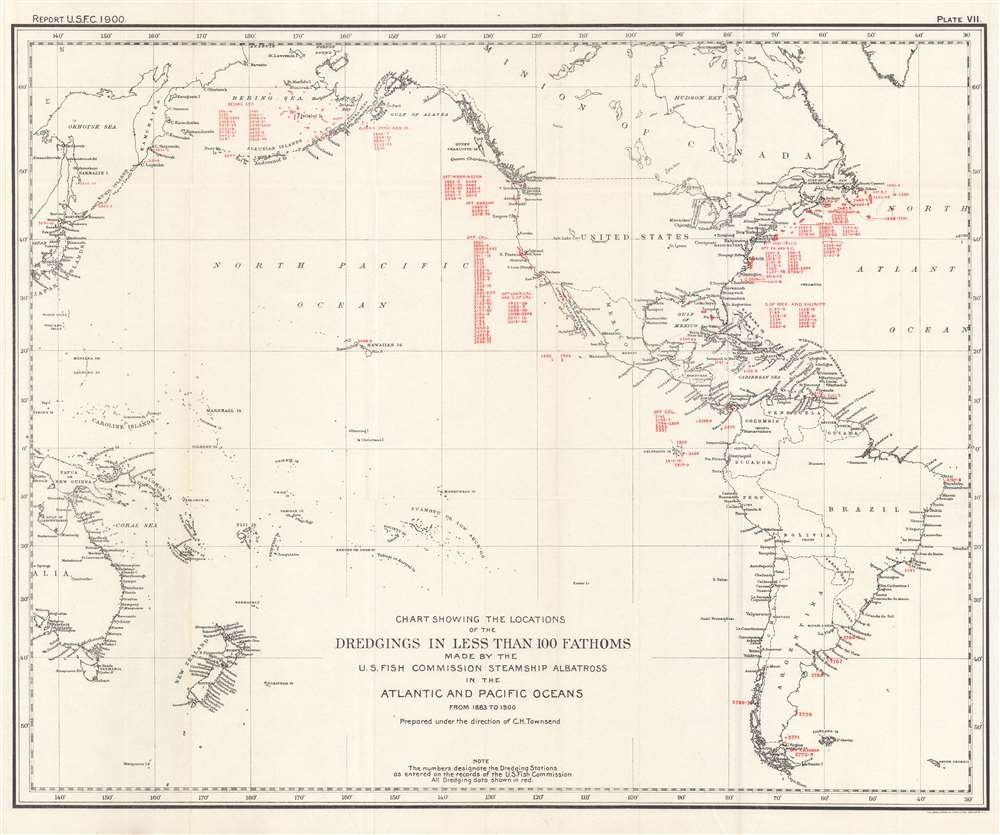 Chart Showing the Locations of the Dredgings in Less Than 100 Fathoms Made by the U.S. Fish Commission Steamship Albatross in the Atlantic and Pacific Oceans from 1883 to 1900. - Main View