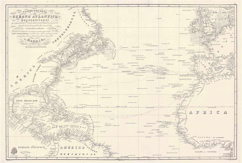 Carta General del Oceano Atlantico Septentrional que comprende desde el Ecuador hasta 55° 35' de latitud norte, y entre la longitud de 93° 45' al Oeste, y 17° al Este del meridiano de Cadiz. - Main View