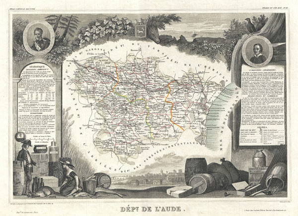 1852 Levasseur Map of the Department L'Aude, France
