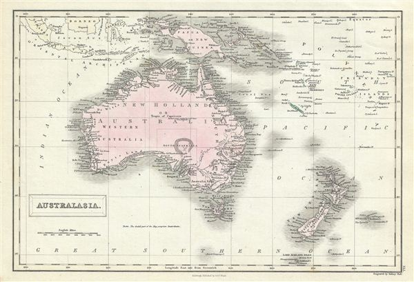 Details about 1851 Black Map of Australia and New Zealand