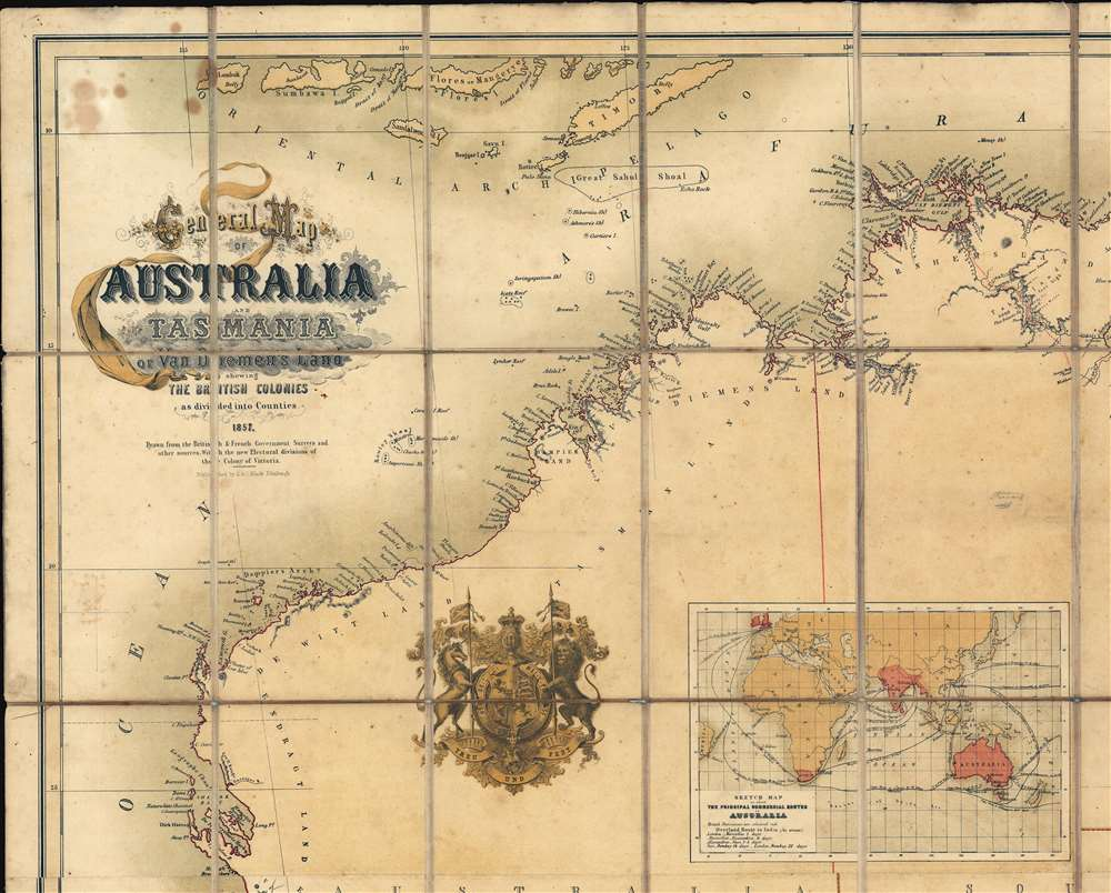 General Map of Australia and Tasmania or Van Diemen's Land shewing The British Colonies as divided into Counties. - Alternate View 1