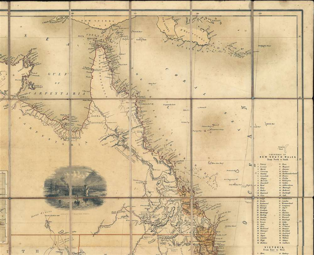 General Map of Australia and Tasmania or Van Diemen's Land shewing The British Colonies as divided into Counties. - Alternate View 2