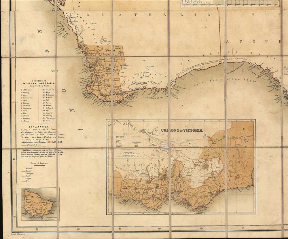 General Map of Australia and Tasmania or Van Diemen's Land shewing The British Colonies as divided into Counties. - Alternate View 3