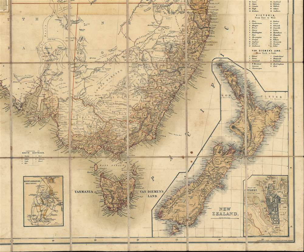 General Map of Australia and Tasmania or Van Diemen's Land shewing The British Colonies as divided into Counties. - Alternate View 4