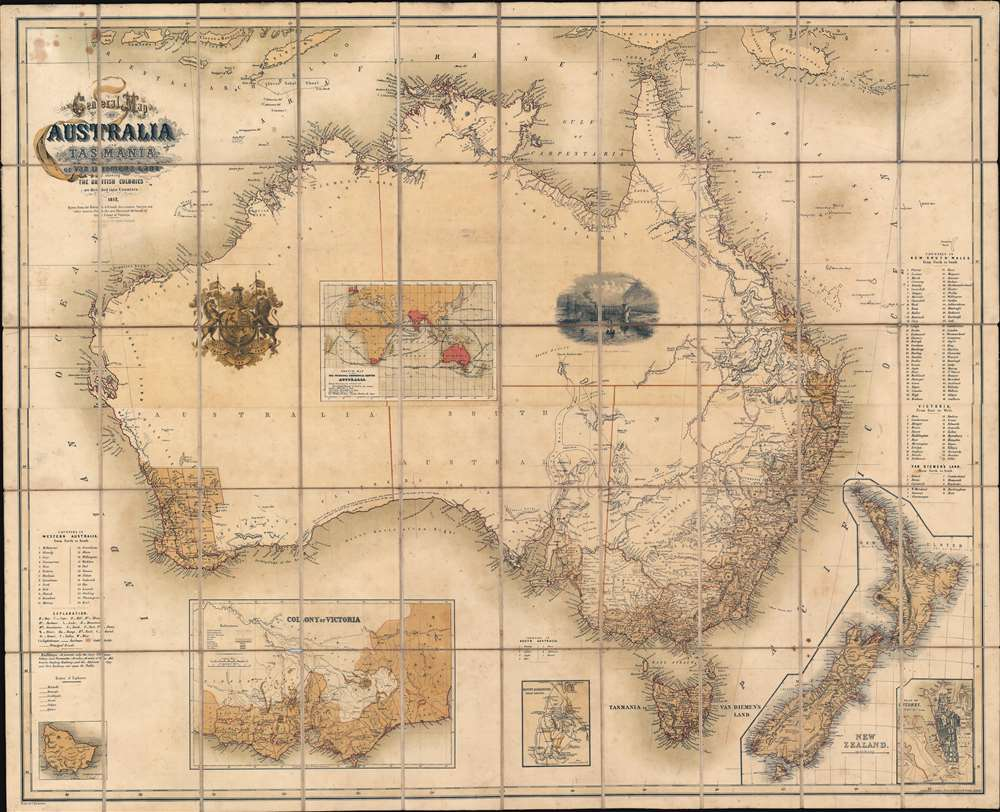 General Map of Australia and Tasmania or Van Diemen's Land shewing The British Colonies as divided into Counties. - Main View