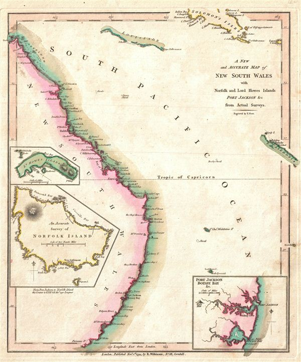 A New and Accurate Map of New South Wales with Norfolk and Lord Howes Islands Port Jackson and C. from Actual Surveys.