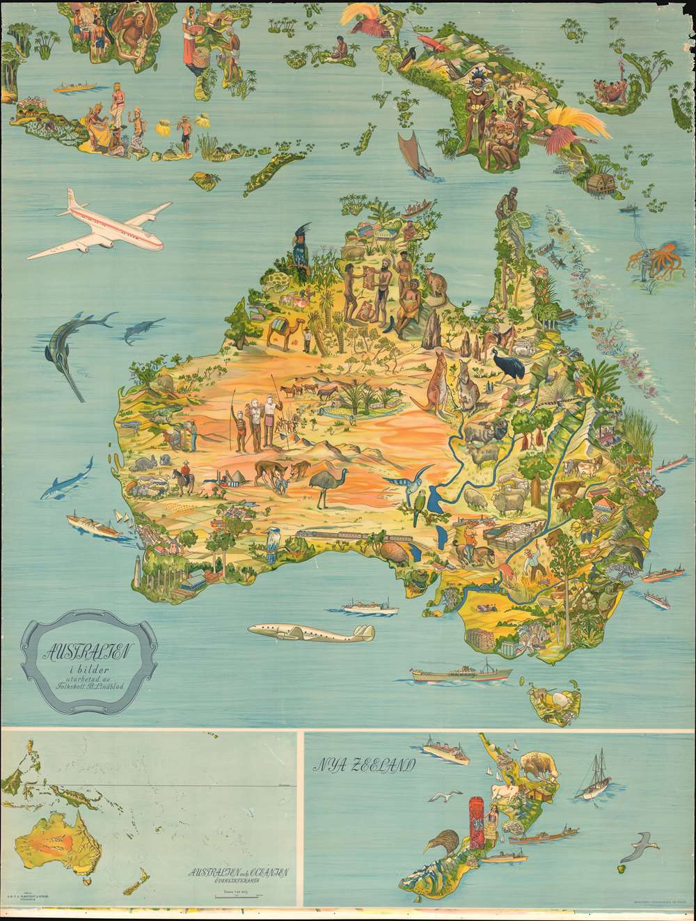 Australia To New Zealand Map.Details About 1947 Lindblad Pictorial Map Of Australia New Zealand And Indonesia
