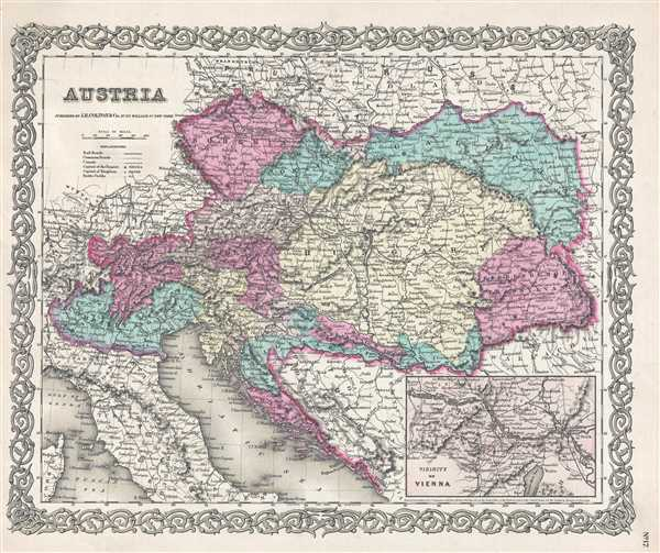 1857 Colton Map of Austria, Hungary and the Czech Republic