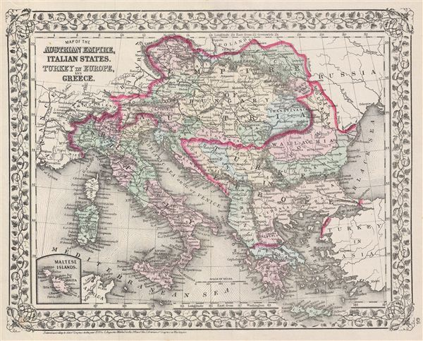 Map of the Austrian Empire, Italian States, Turkey in Europe, and Greece.