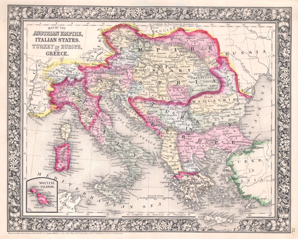 Map of the Austrian Empire, Italian States. Turkey in Europe, and Greece. - Main View