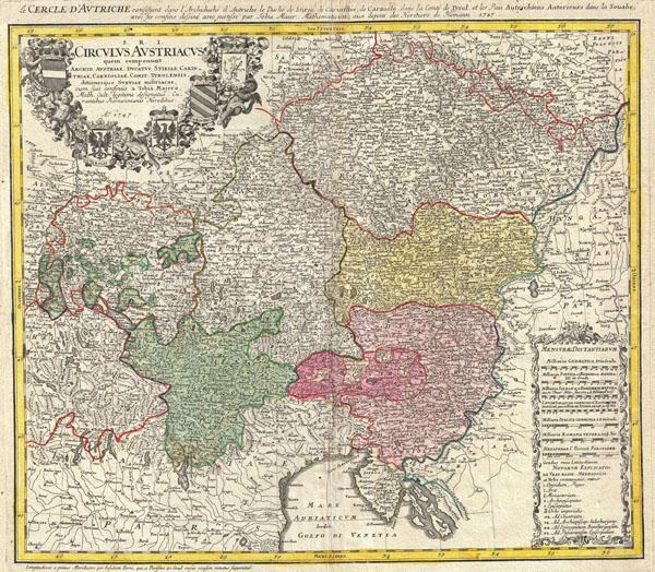 S. R. I. Circulus Austriacus ... le Cercle d'Autriche consistant dans l'Archiduché d'Autriche, le Duché de Stirie, de Carinthie, de Carniole, dans le Comté de Tyrol, et les Pays Autrichiens Anterieurs, dans la Souabe, avec ses confins dessiné avec justesse ...