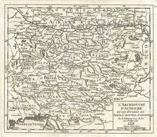 1748 Vaugondy Map of Inner Austria (Austria, Slovenia, Hungary)