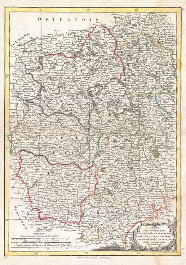 1771 Bonne Map of the Auvergne, Limosin, Bourbonnais, and Berri, France