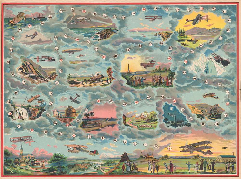 1912 Saussine Pictorial Broadside Game Board of a Plane Trip Around the World