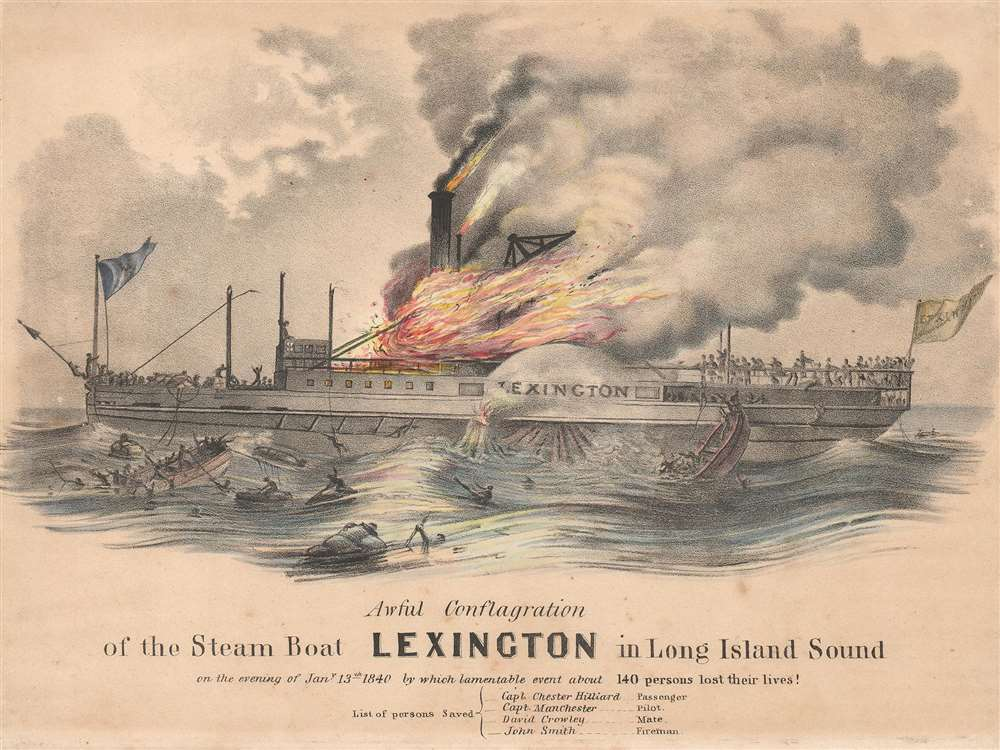 1840 View of the Steamboat Lexington Disaster, Long Island, New York