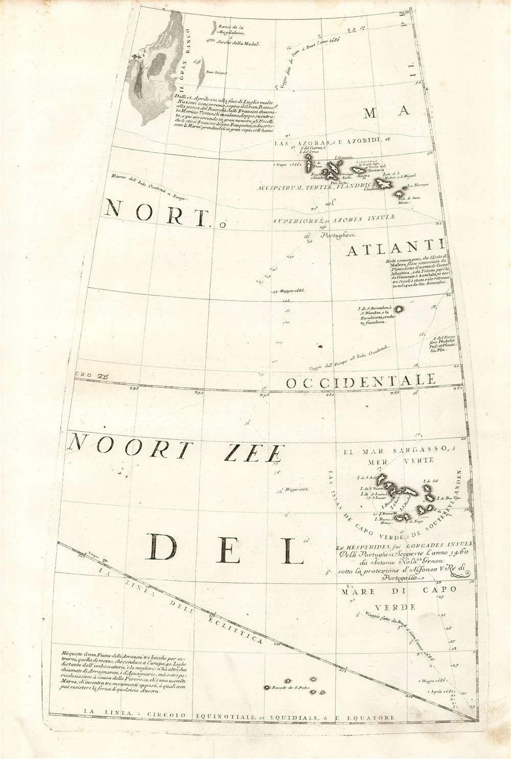 1688 / 1697 Coronelli Globe Gore: Grand Banks, Azores, and Cape Verde Islands