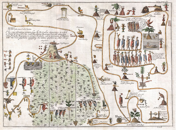 The copy of a antient picture kept by D. Carlos Siguenza in which is drawn & describ'd the road the antient Mexicans travell'd when they came fromteh Mountains to inhabe the Lake, call'd at present of Mexico, with the Hieroglyphicks signifying the names of places & other things. - Main View