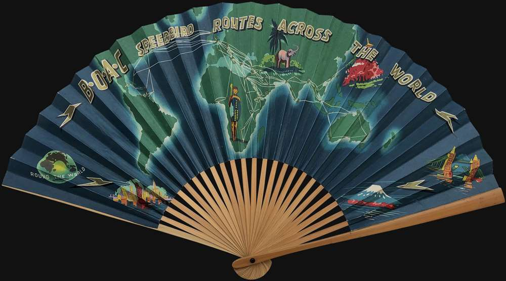 1960s B.O.A.C. World Map on a Fan promoting Air Travel