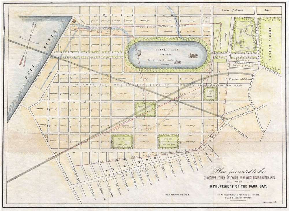 Plan presented to the honble. the State Commissioners for the improvement of the Back Bay. - Main View