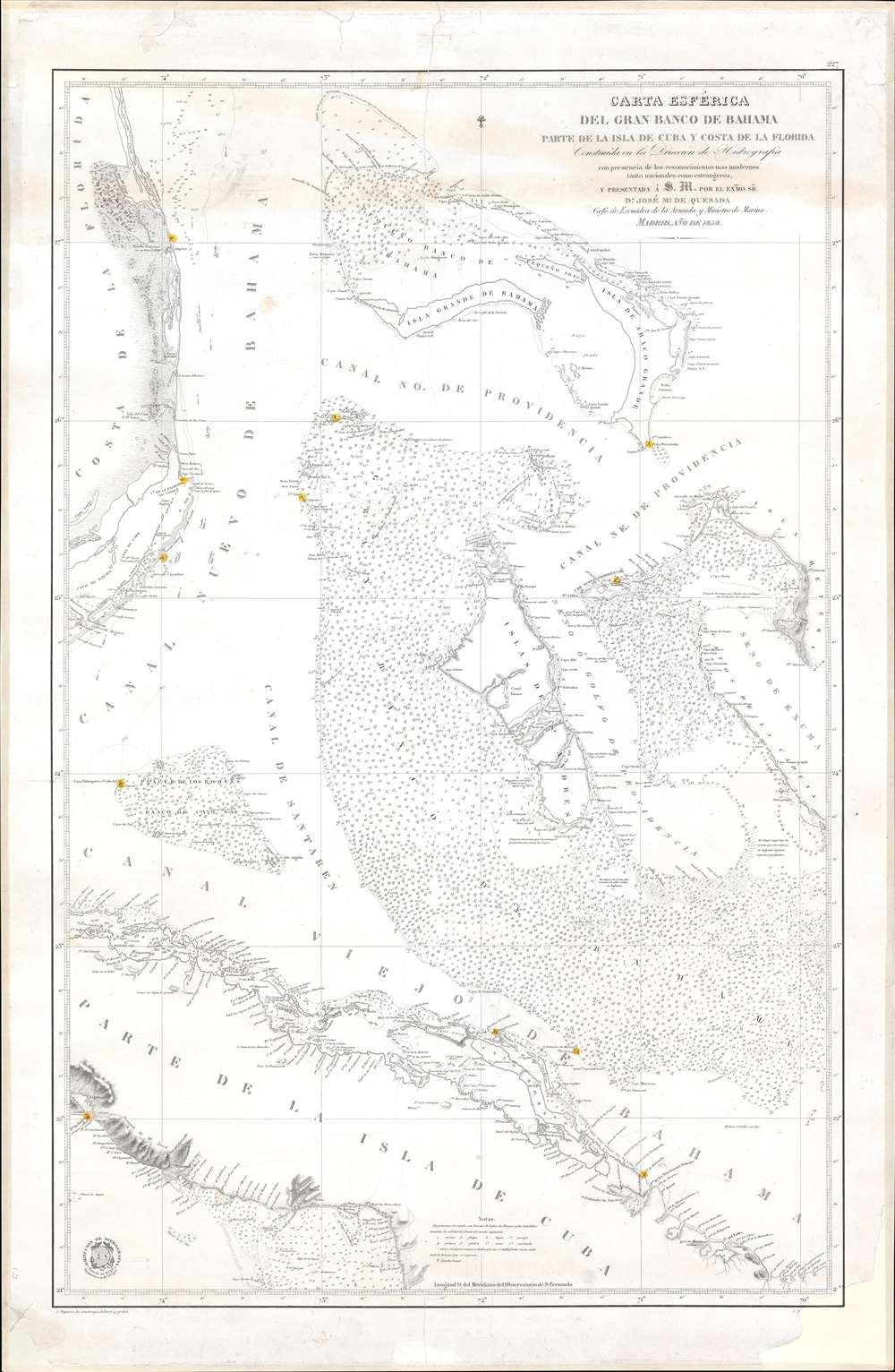 Carta Esférica del Gran Banco de Bahama parte de la Isla de Cuba y Costa de la Florida. - Main View