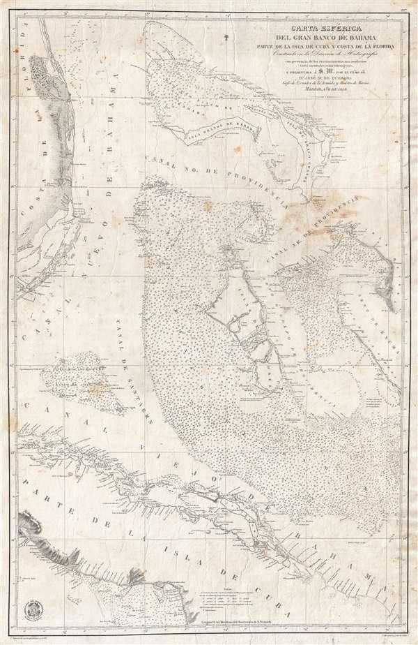 Carta Esférica del Gran Banco de Bahama parte de la Isla de Cuba y Costa de la Florida.