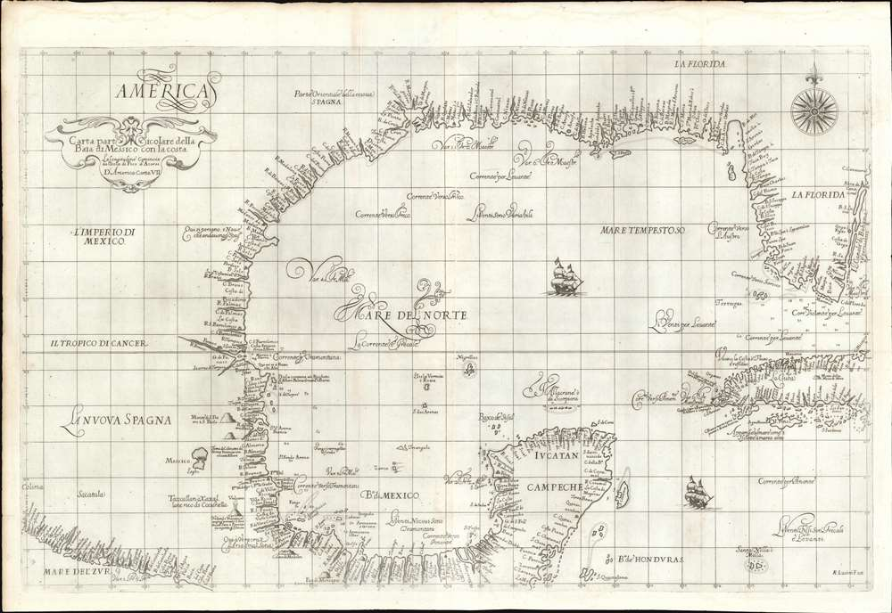 Carta particolare della Baia di Messico con la Costa. - Main View